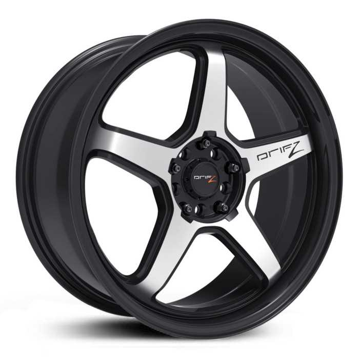 Drifz 304M Circuit  Wheels Satin Black w/ Machined Accents