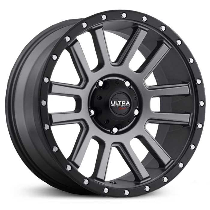 Ultra 107GN Xtreme X107  Wheels Satin Graphite w/ Black X-Lok Lip & Clear-Coat