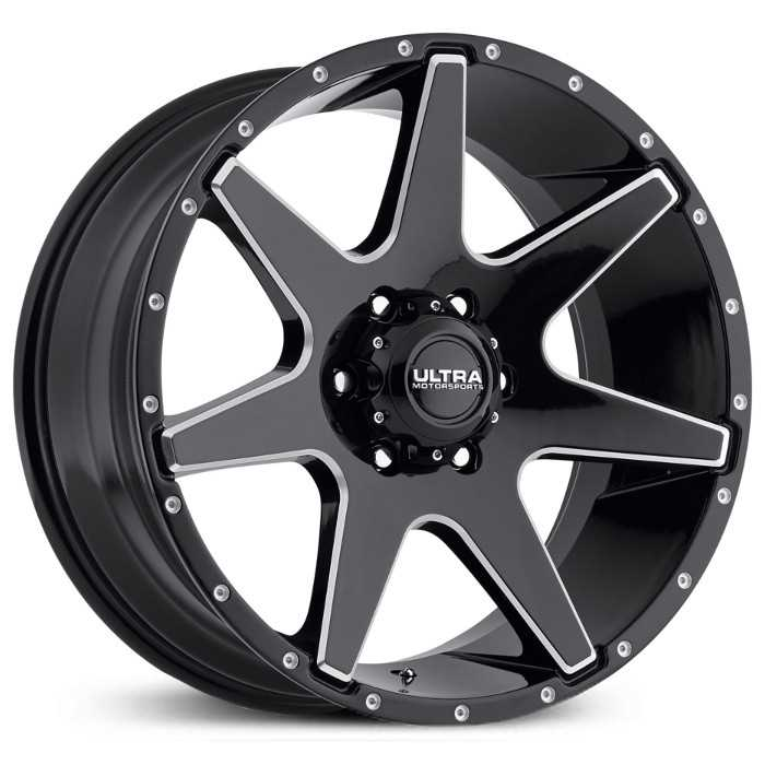 Ultra 205BM Tempest  Wheels Gloss Black w/ Milled Accents & Clear-Coat