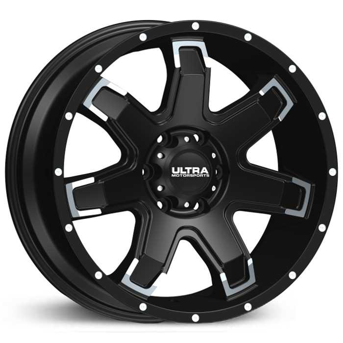 Ultra 209BK Bent 7  Wheels Black w/ Diamond Cut Spokes & Milled Spots