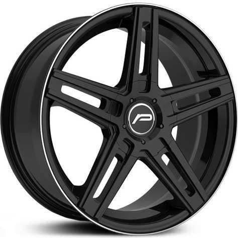 Pacer 788B Tradition  Wheels Gloss Black w/ Machined Lip Edge