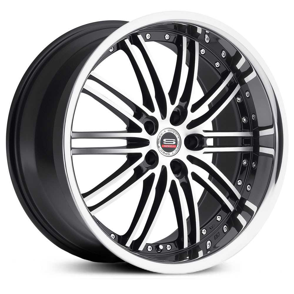 Spec-1 SP-7  Wheels Gloss Black Machined Stainless Lip