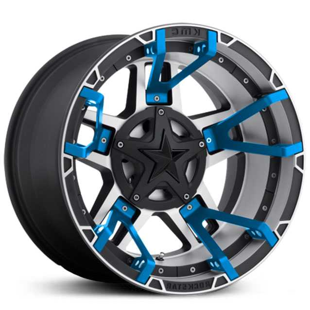 XD827 Rockstar 3 Black Machined Blue Split Spoke Inserts Black Cap