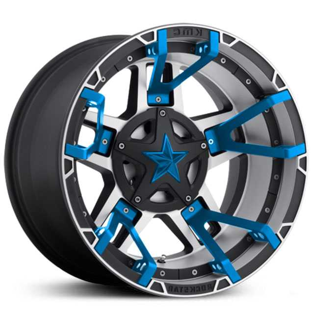 XD827 Rockstar 3 Black Machined Blue Split Spoke Inserts & Blue Cap