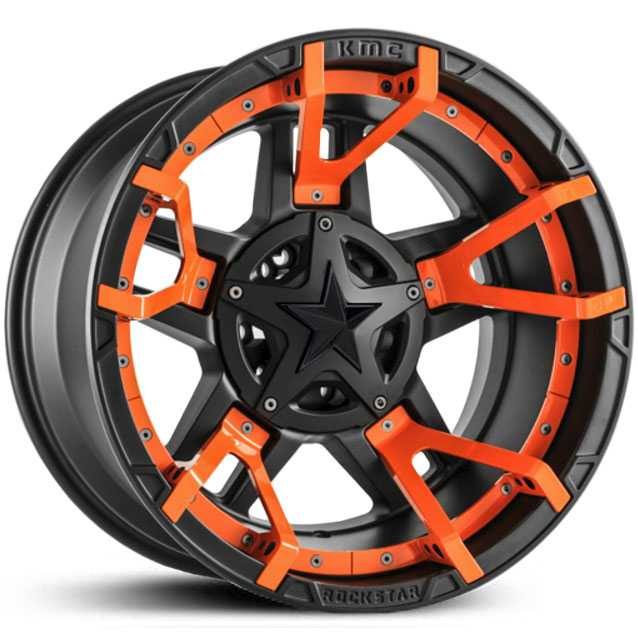 XD827 Rockstar 3 Matte Black Orange Split Spoke Inserts & Black Cap