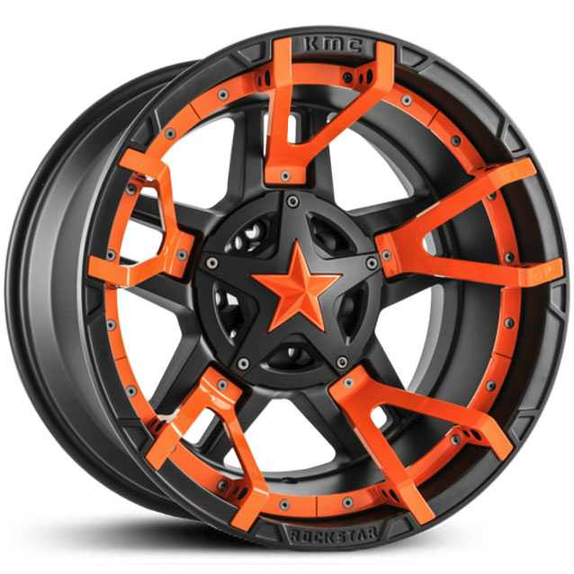XD827 Rockstar 3 Matte Black Orange Split Spoke Inserts Orange Cap