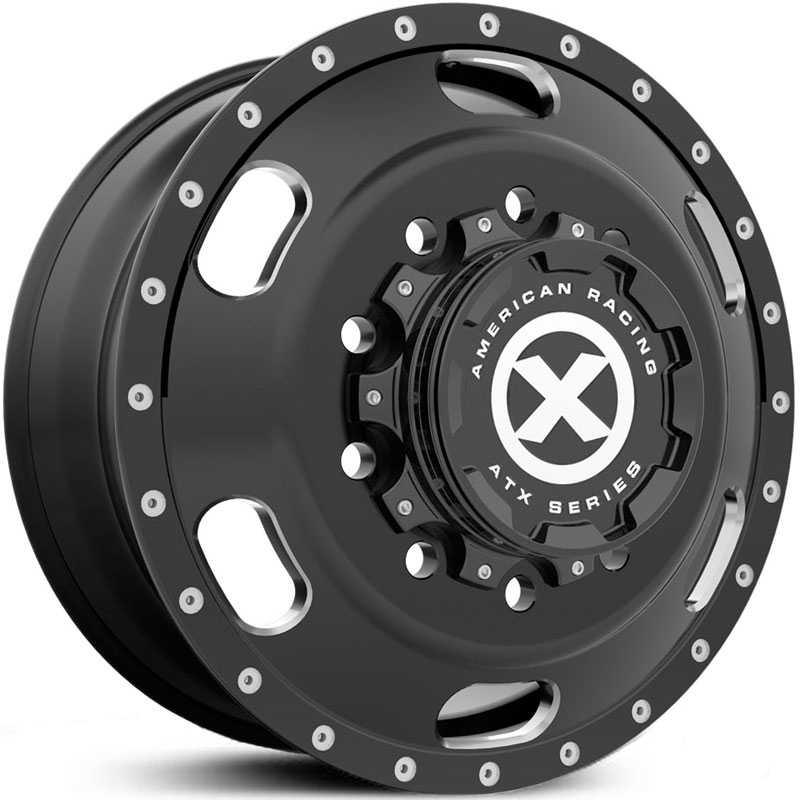 ATX Semi OTR AO402 Indy - Semi 18 Wheeler  Wheels Satin Black Milled - Front