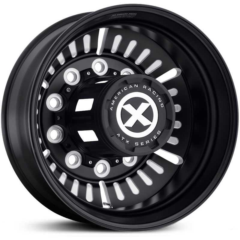 ATX Semi OTR AO403 Roulette - Semi 18 Wheeler  Wheels Satin Black Milled - Inner Rear