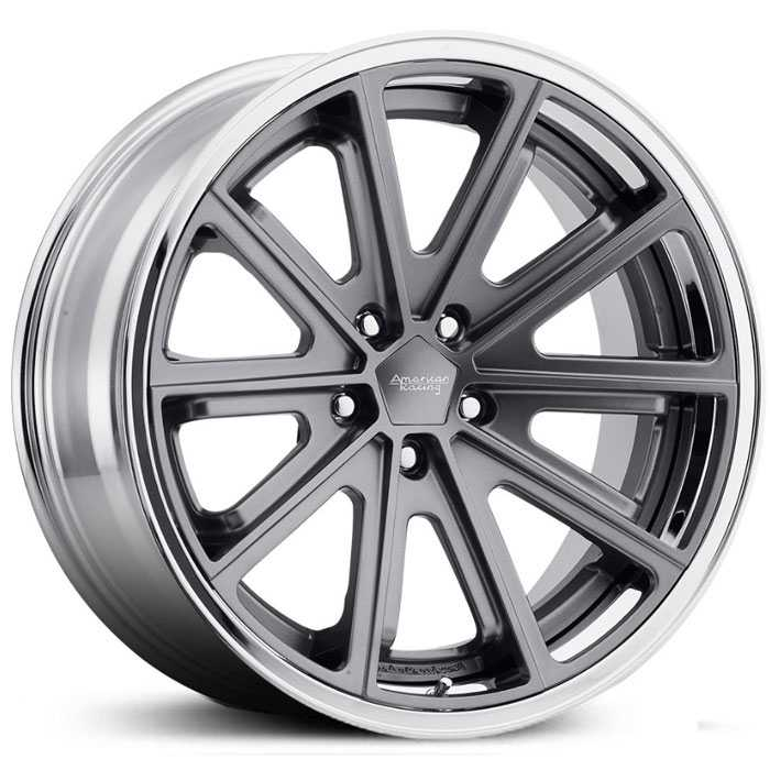 American Racing Vintage VN901  Wheels Satin Gray w/ Chrome Lip