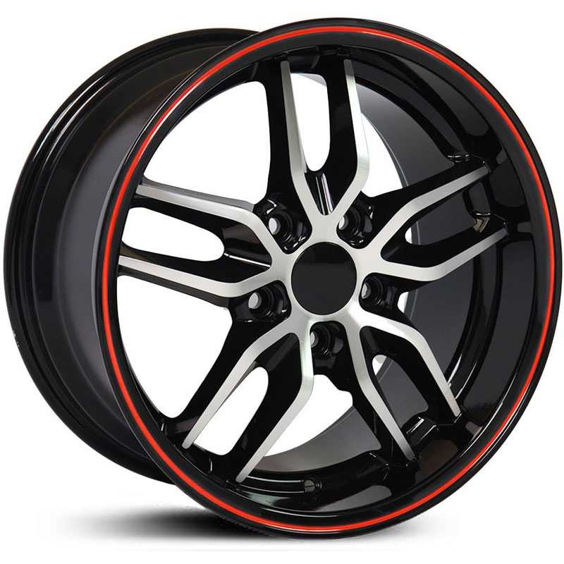 Corvette Stingray (CV18) Deep Dish  Wheels Black Machined w/ Red Band