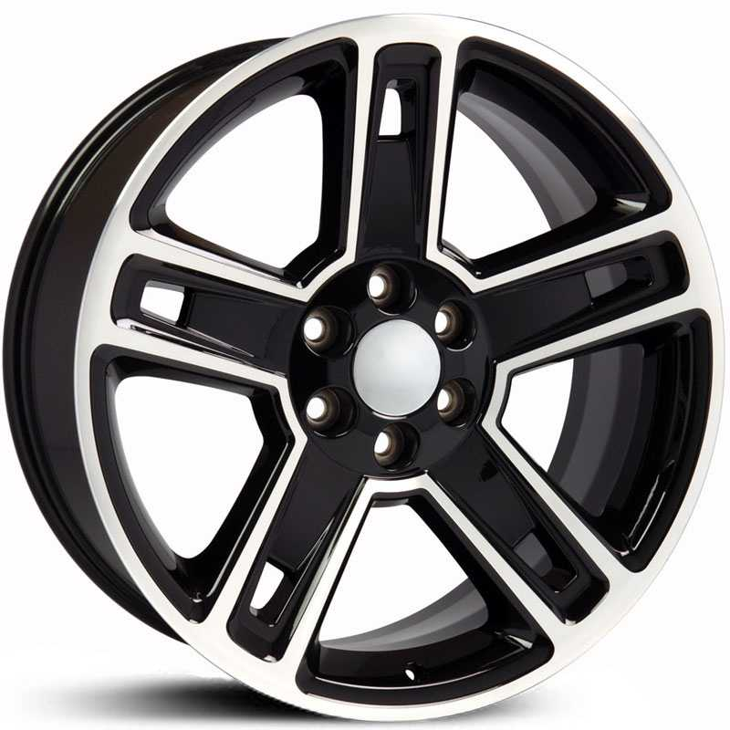 22x9 Chevrolet Silverado 1500 (CV74) Style Replica Black Machined MID - 9507618