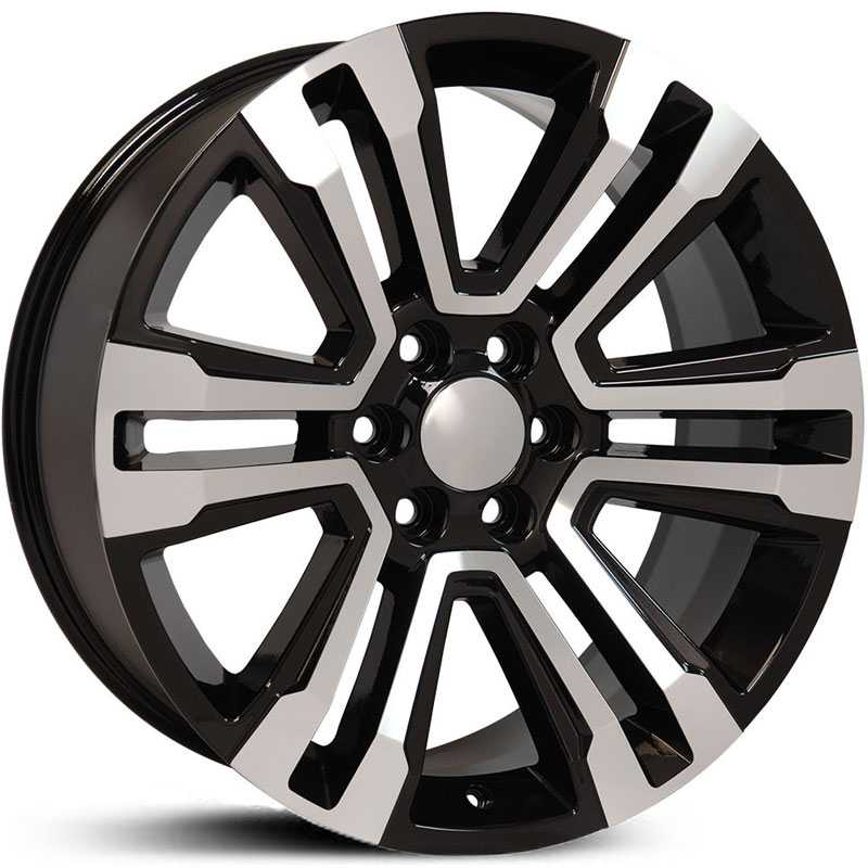 GMC Sierra 1500 Denali Style (CV44)  Wheels Black Machined Face
