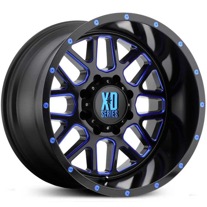 XD Series XD820 Grenade  Wheels Satin Black Milled w/ Blue Clear Coat