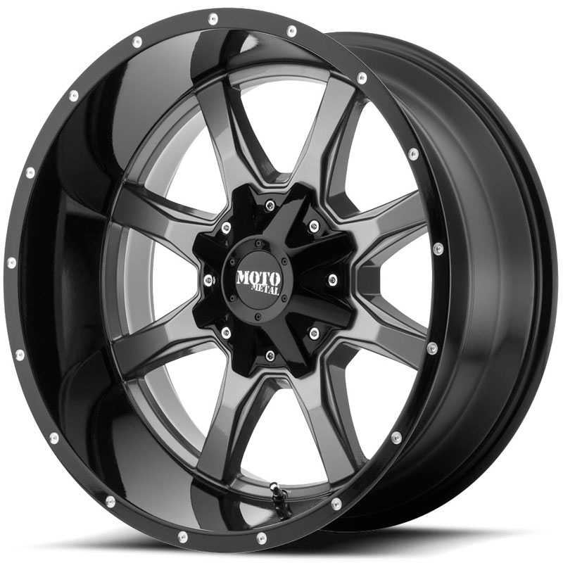 20x10 Moto Metal MO970 Gloss Gray w/ Black Lip REV