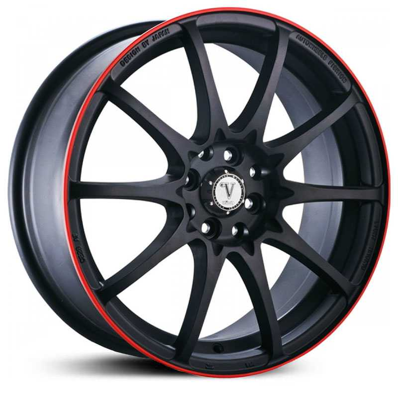 Velocity  VW-211  Wheels Black w/ Red Stripe Lip