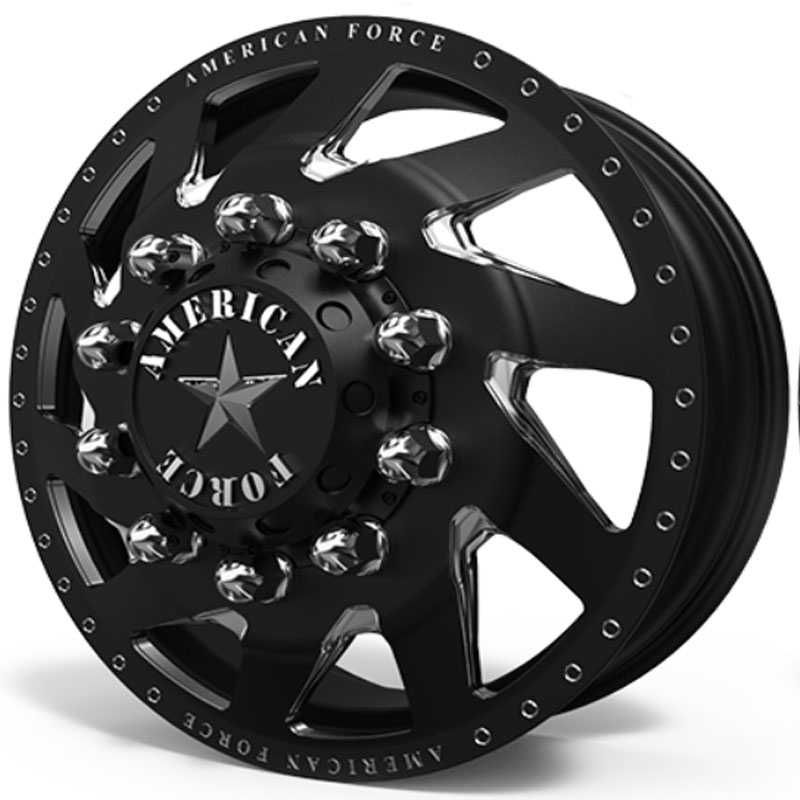 American Force Dually Tempest  Wheels Black & Machined Windows