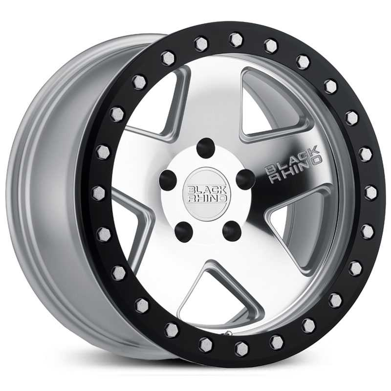 Black Rhino Crawler  Wheels Silver Mirror Face Black Lip Ring