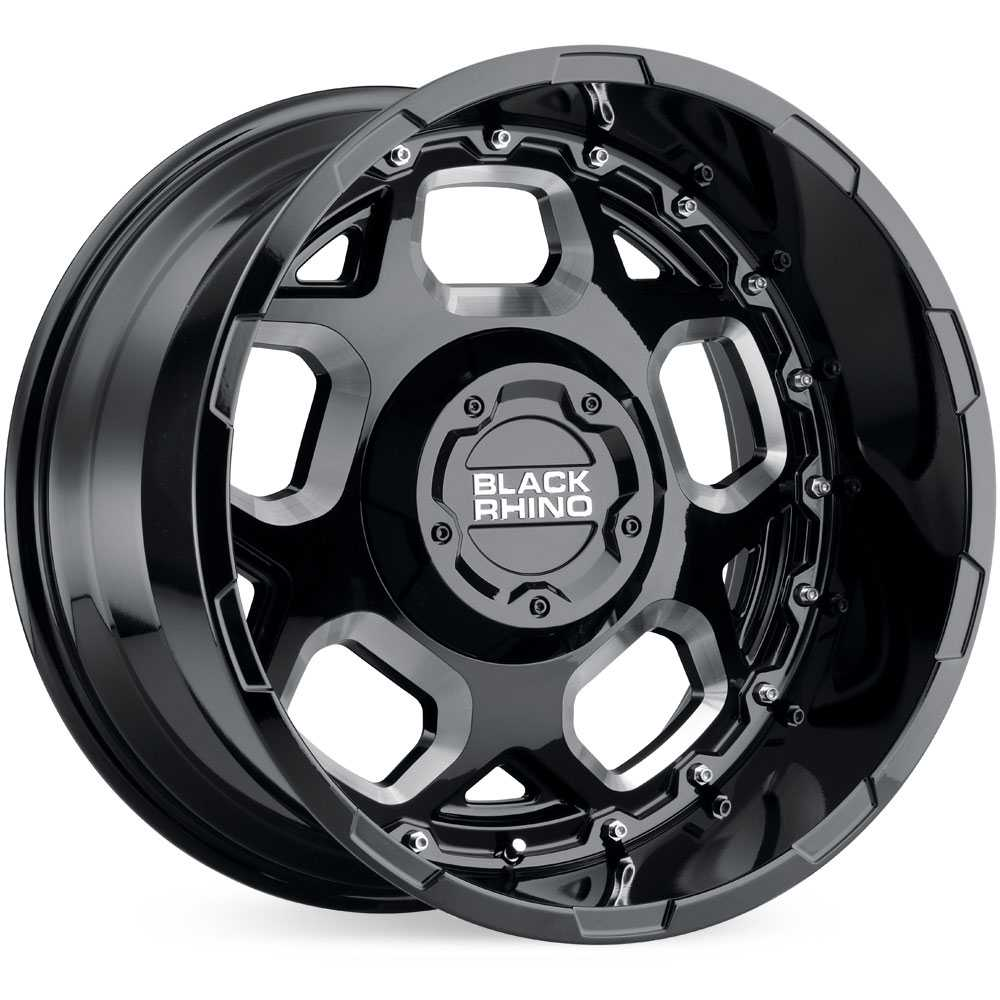 Black Rhino Gusset  Wheels Gloss Black Milled Spokes