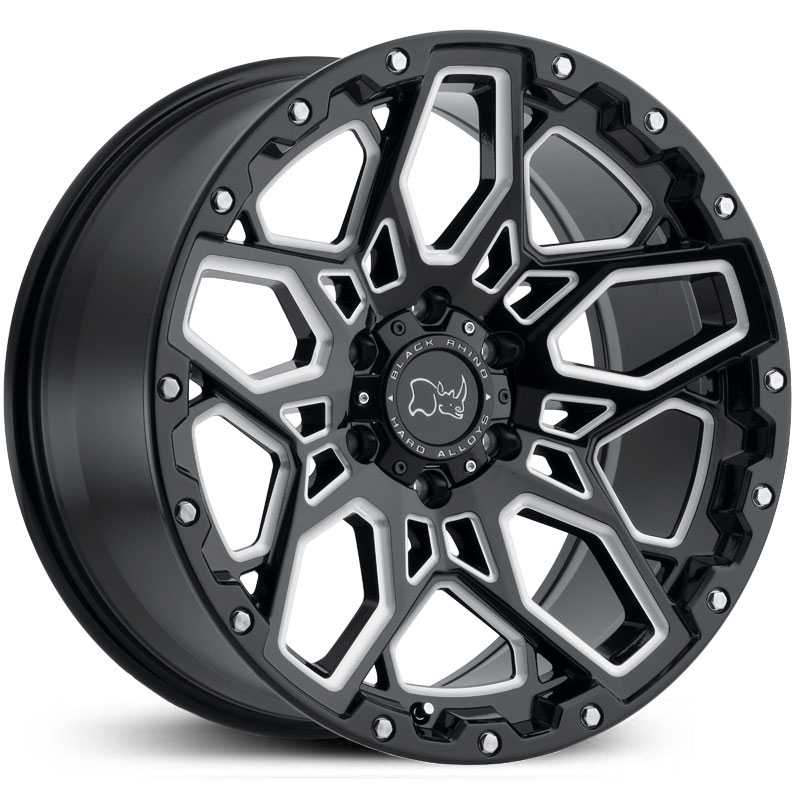 Black Rhino Shrapnel  Wheels Gloss Black Milled Spokes
