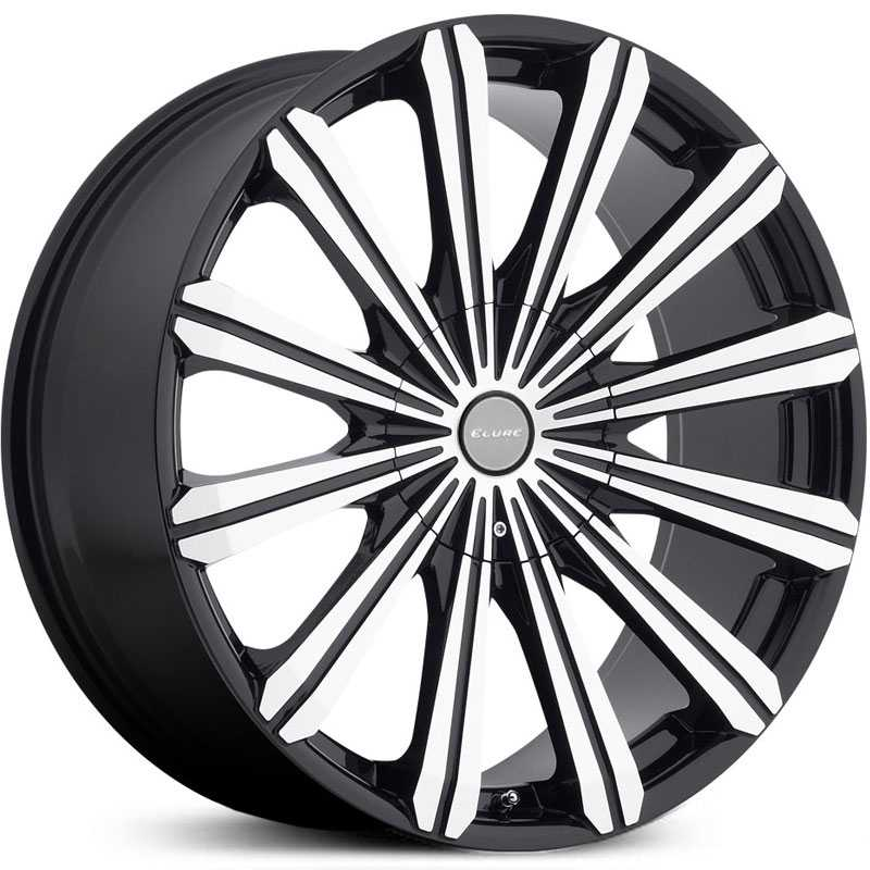 Elure 030  Wheels Black w/ Machined Face & Metal Centercap
