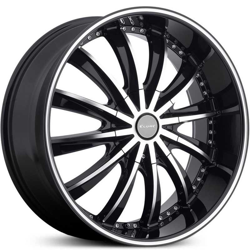 Elure 031  Wheels Black w/ Machined Face Pinstripe & Metal Centercap