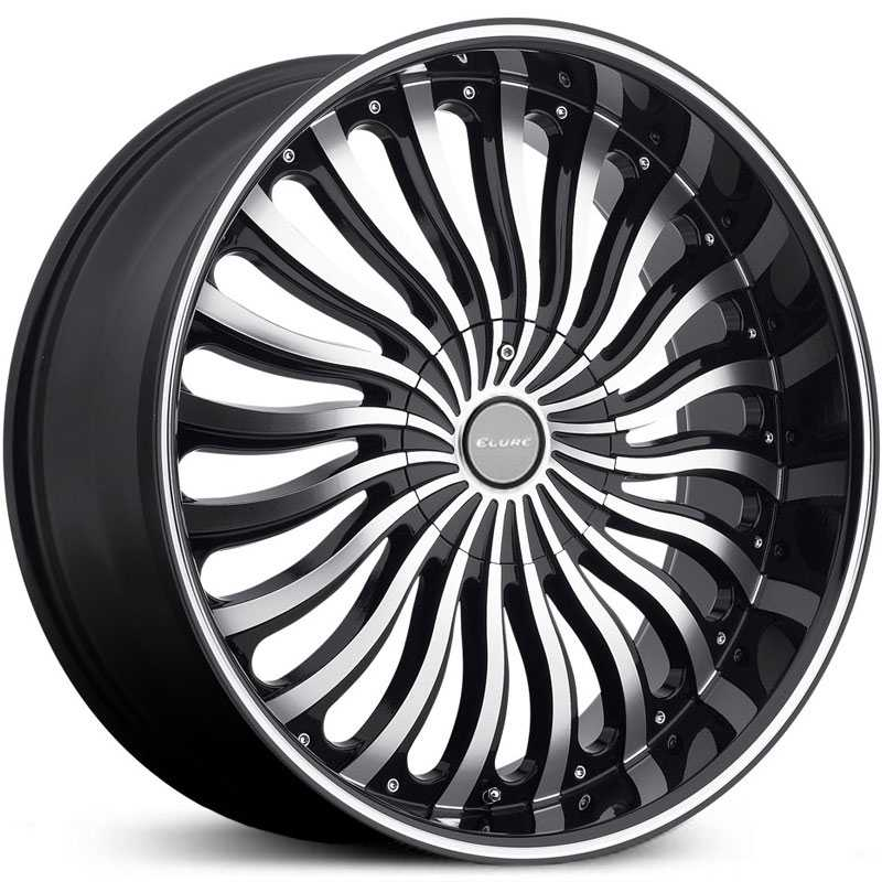 Elure 033  Wheels Black w/ Machined Face Pinstripe & Metal Centercap