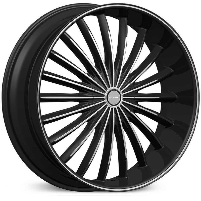 Elure 034  Wheels Black w/ Machined Face Pinstripe & Metal Centercap