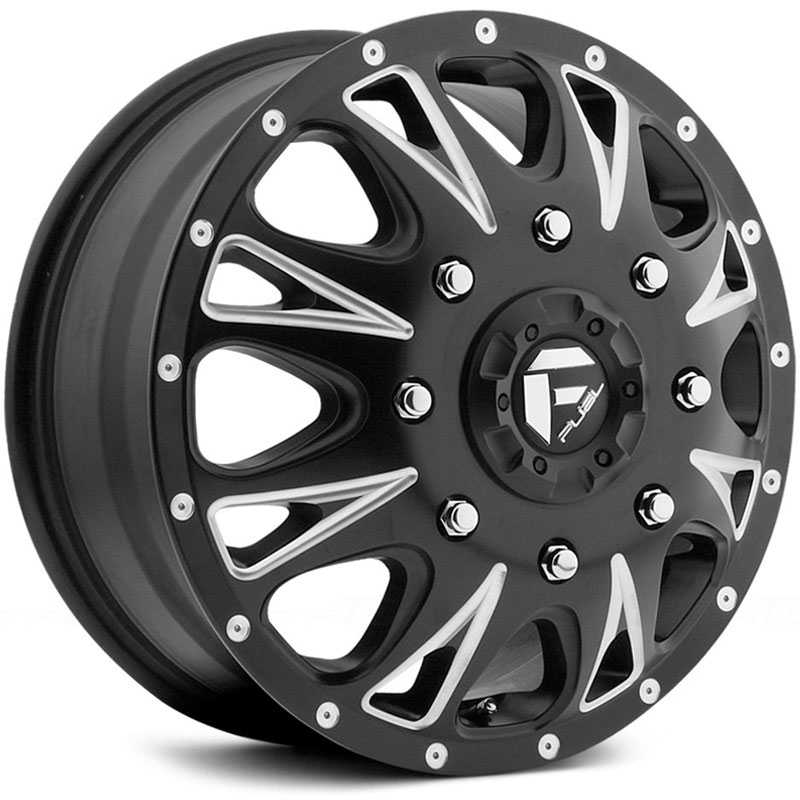 Fuel D513 Throttle Dually  Wheels Black Milled (Front)