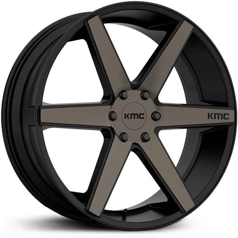 KMC KM704 District Truck  Wheels Matte Black w/ Dark Tint Clear Coat Face