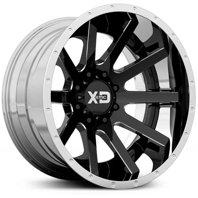 XD Series XD200 Heist  Wheels Gloss Black w/ Chrome Lip