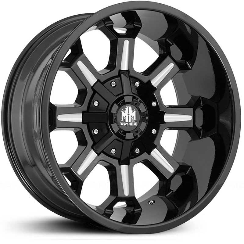 Combat 8105 Gloss Black Milled Spokes