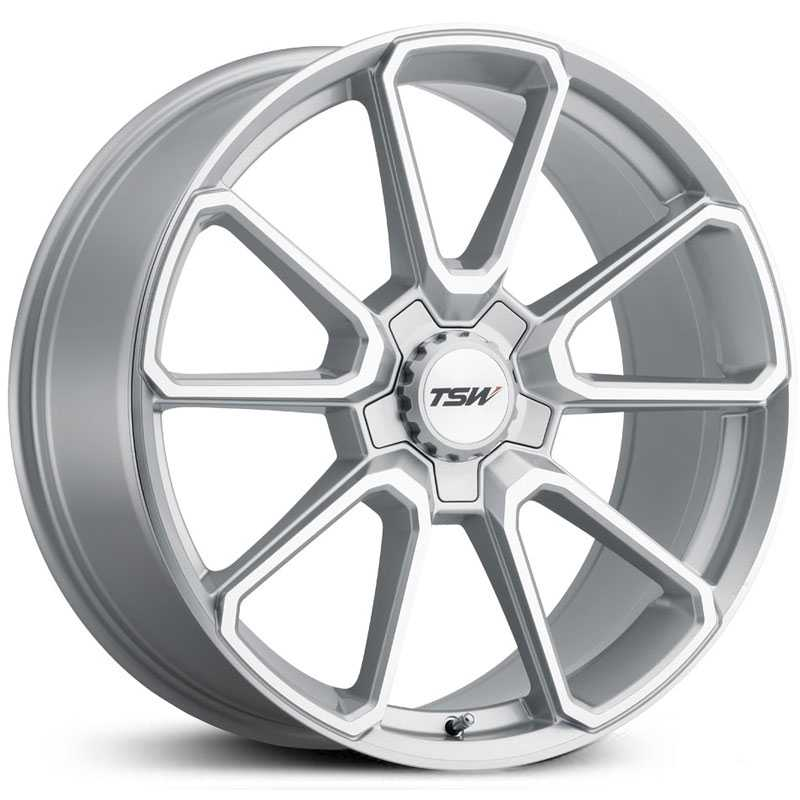 TSW Sonoma  Wheels Silver w/ Mirror Cut Face & Silver Hex Nut