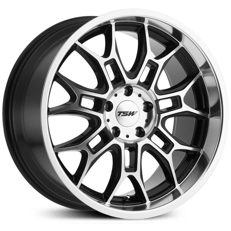 TSW Yas  Wheels Gloss Black w/ Mirror Cut Face & Lip