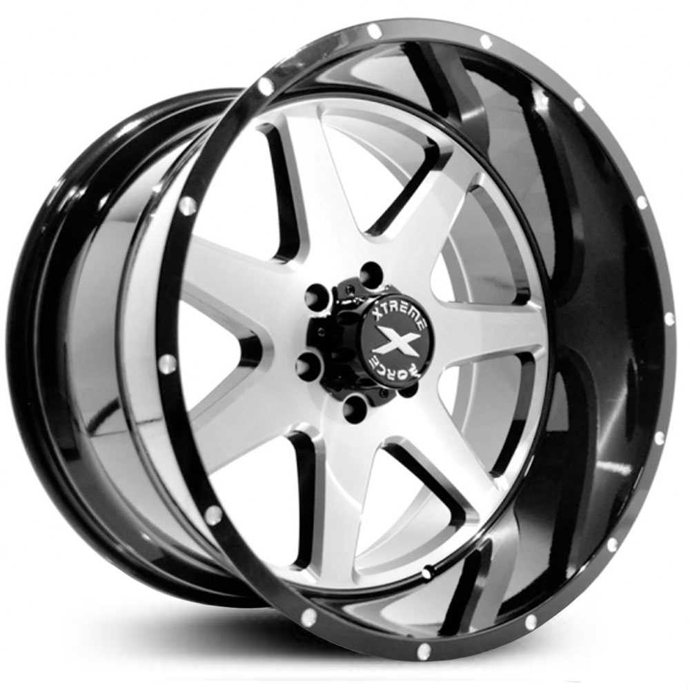 Xtreme Force XF-4  Wheels Black w/ Silver Brushed Face