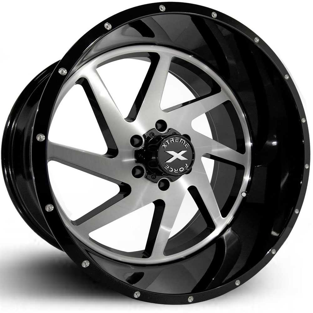 Xtreme Force XF-6  Wheels Black w/ Silver Brushed Face