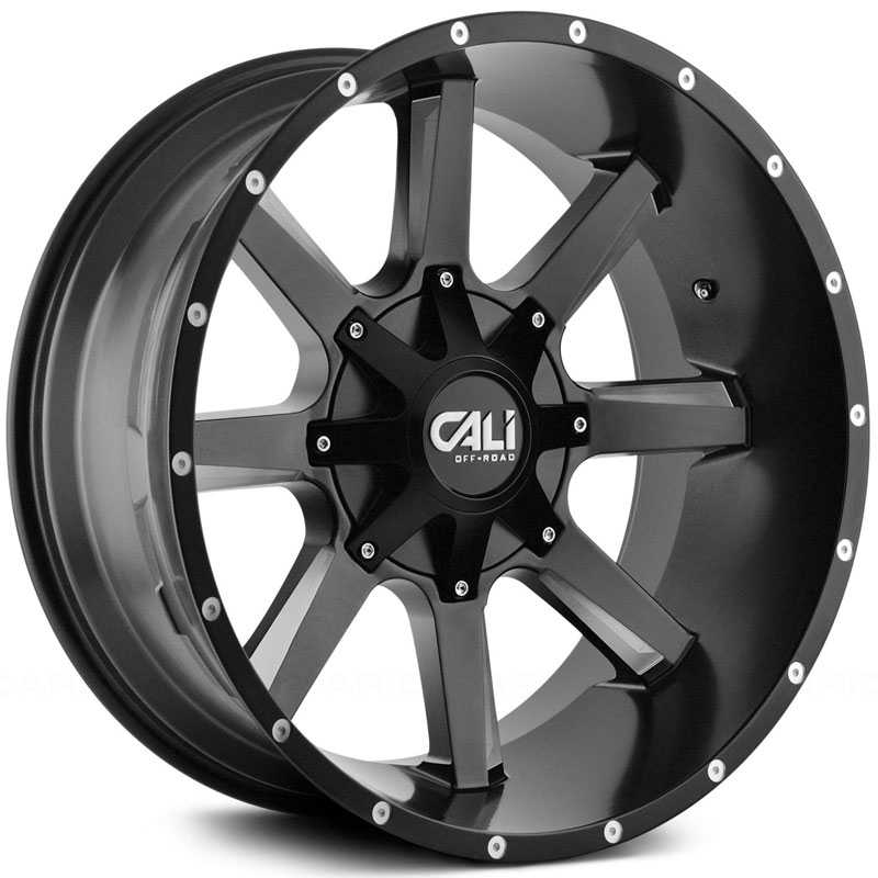 Cali Off-Road Busted 9100  Wheels Satin Black w/ Milled Spokes