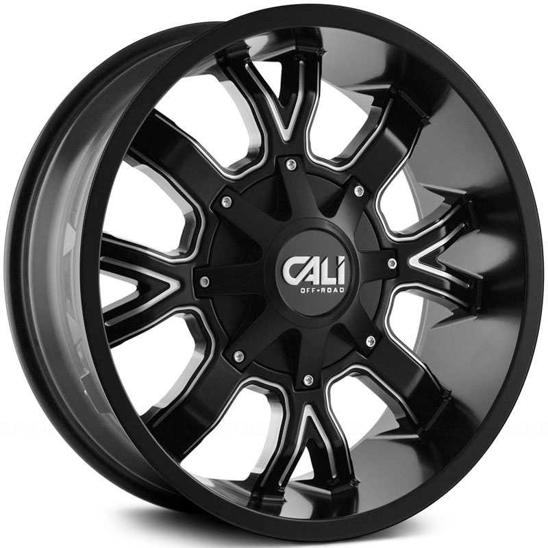 Cali Off-Road Dirty 9104  Wheels Satin Black w/ Milled Spokes