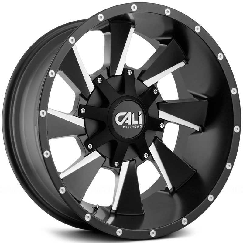 Cali Off-Road Distorted 9106  Wheels Satin Black w/ Milled Spokes