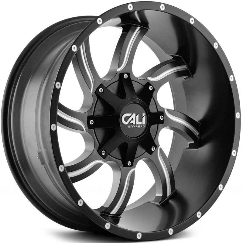 Cali Off-Road Twisted 9102  Wheels Satin Black w/ Milled Spokes