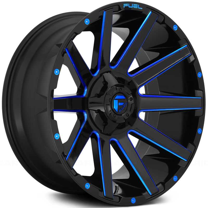 Fuel D644 Contra  Wheels Gloss Black w/ Candy Blue Accents