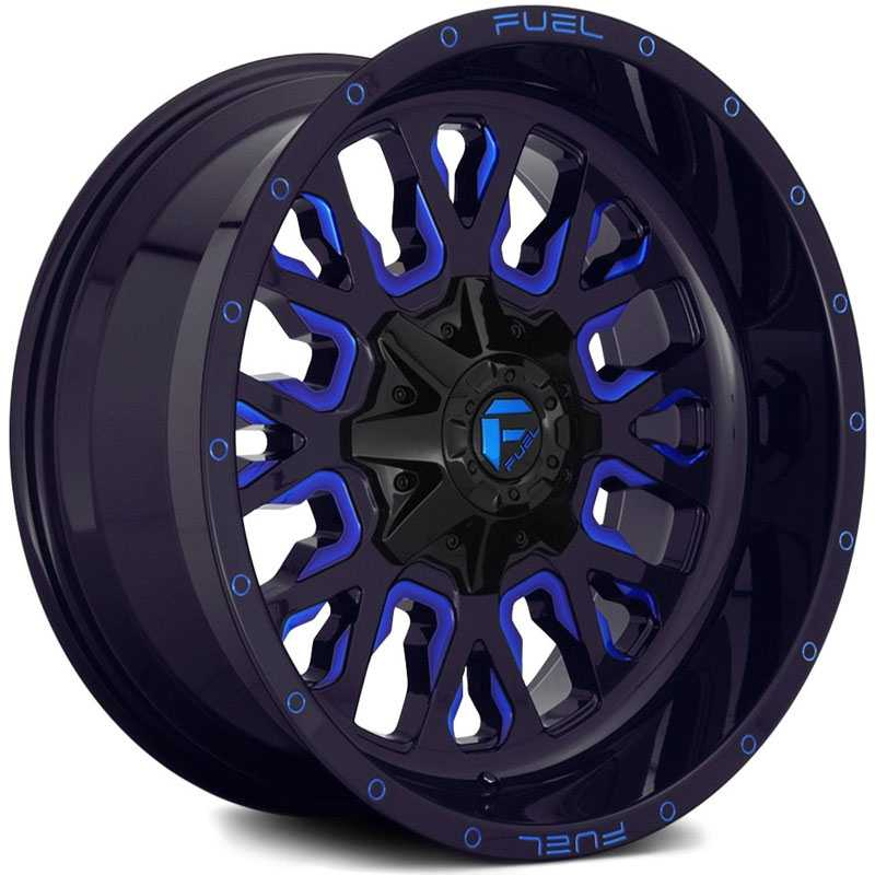 Fuel D645 Stroke  Wheels Gloss Black w/ Candy Blue Accents
