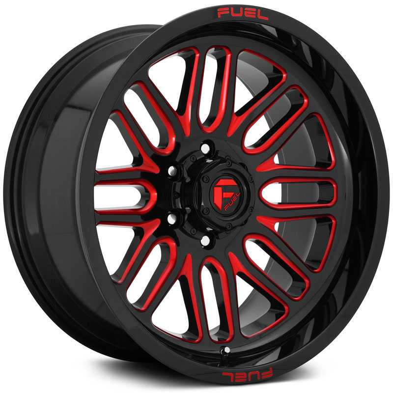 Fuel D663 Ignite  Wheels Gloss Black w/ Candy Red Accents