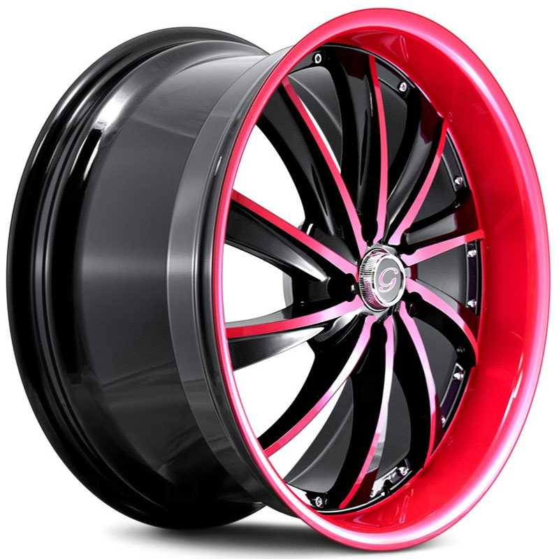 G-Line Alloys G0016 Gloss Black Red Face & Lip