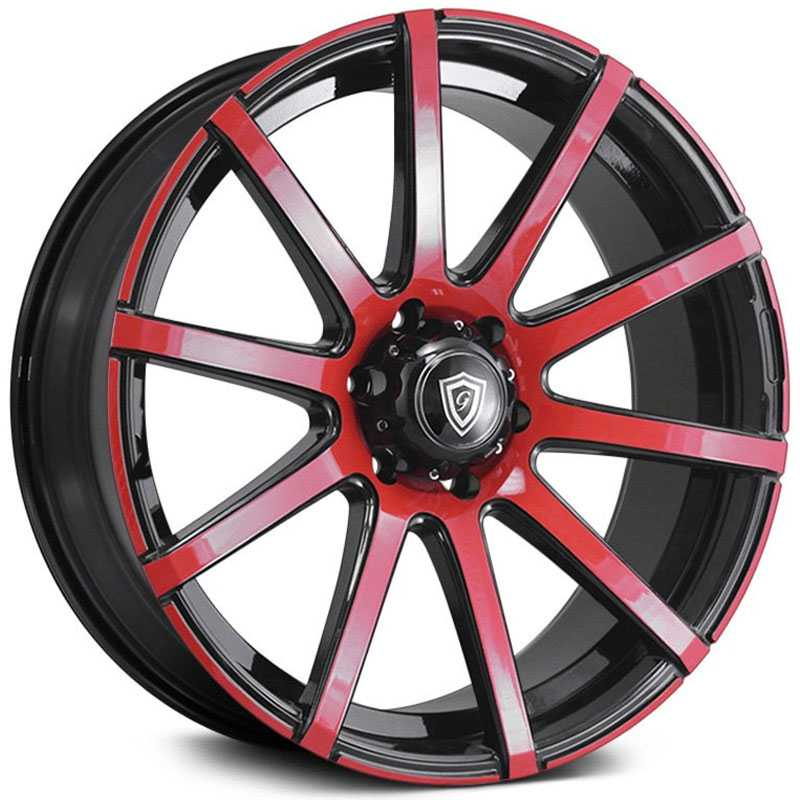 22x9.5 G-Line Alloys G0036 Gloss Black Red Face RWD