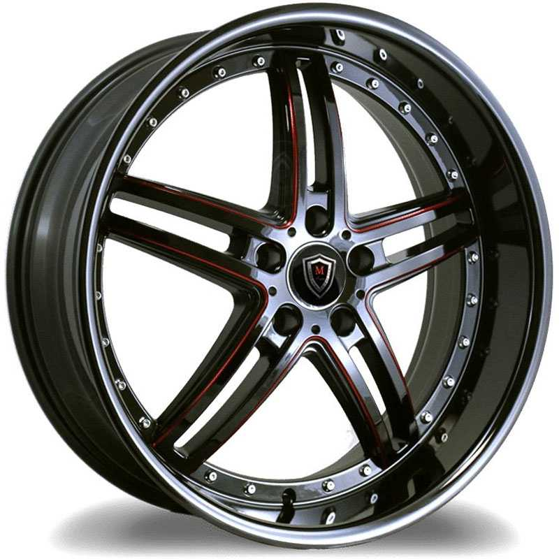 Marquee Luxury Marquee M5329  Wheels Gloss Black w/ Red Milling