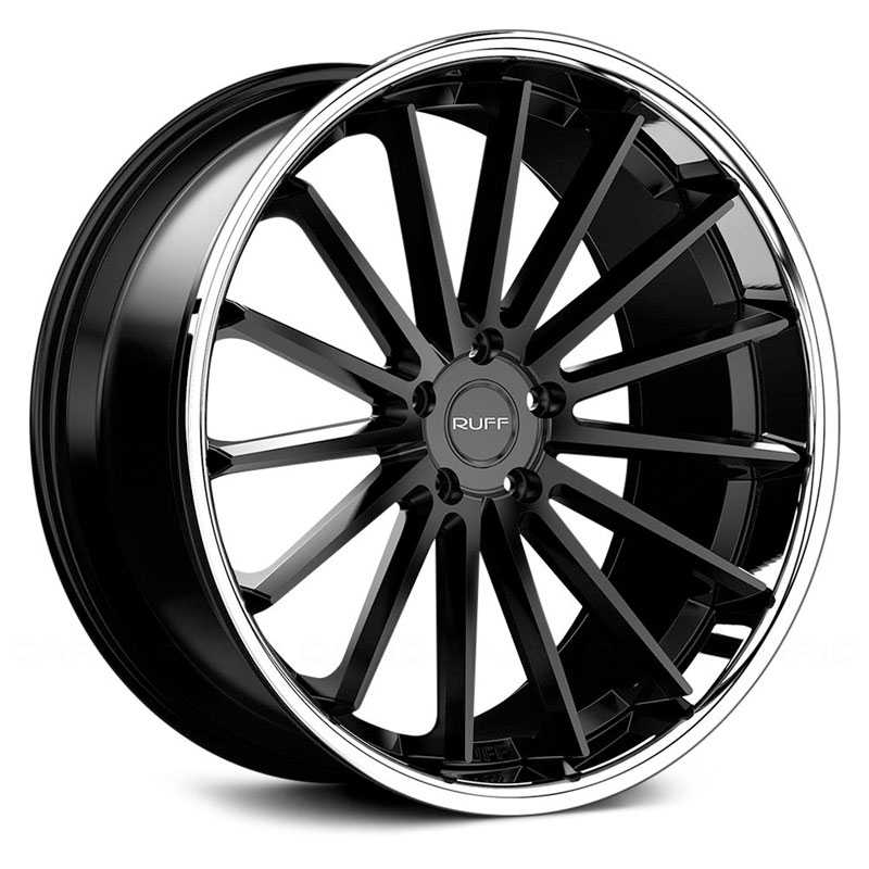 Ruff Racing R03  Wheels Satin Black w/ Chrome Stainless Steel Lip