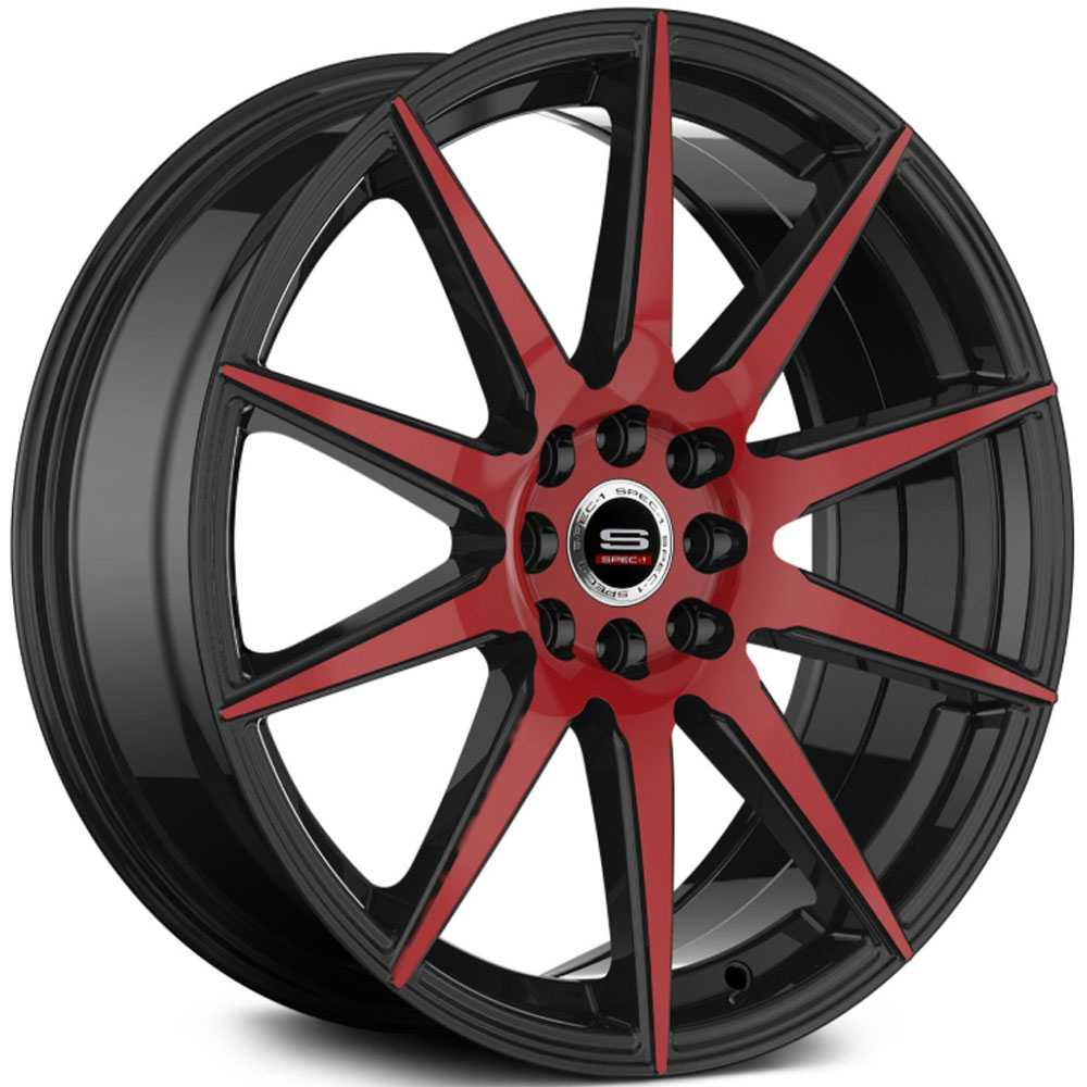 Spec-1 SP-51  Wheels Gloss Black & Red Milled