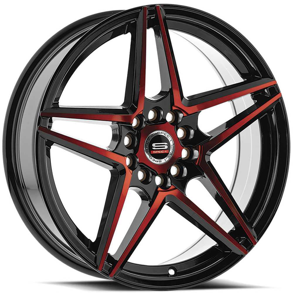 Spec-1 SP-54  Wheels Gloss Black & Red Milled