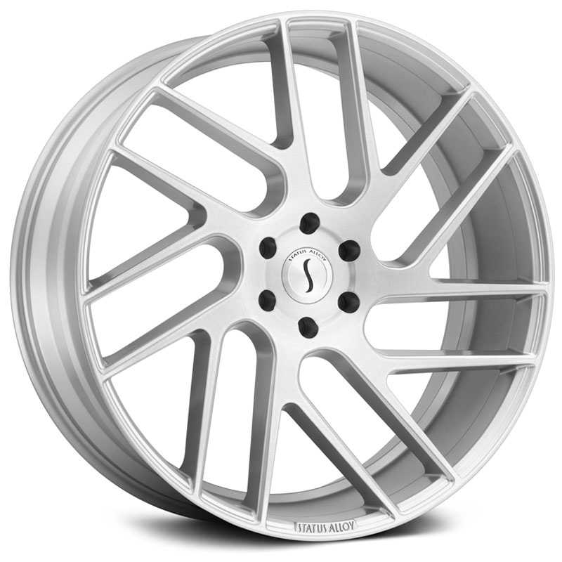 22x9.5 Status Alloy S843 Juggernaut Silver w/ Brushed Machine Face RWD