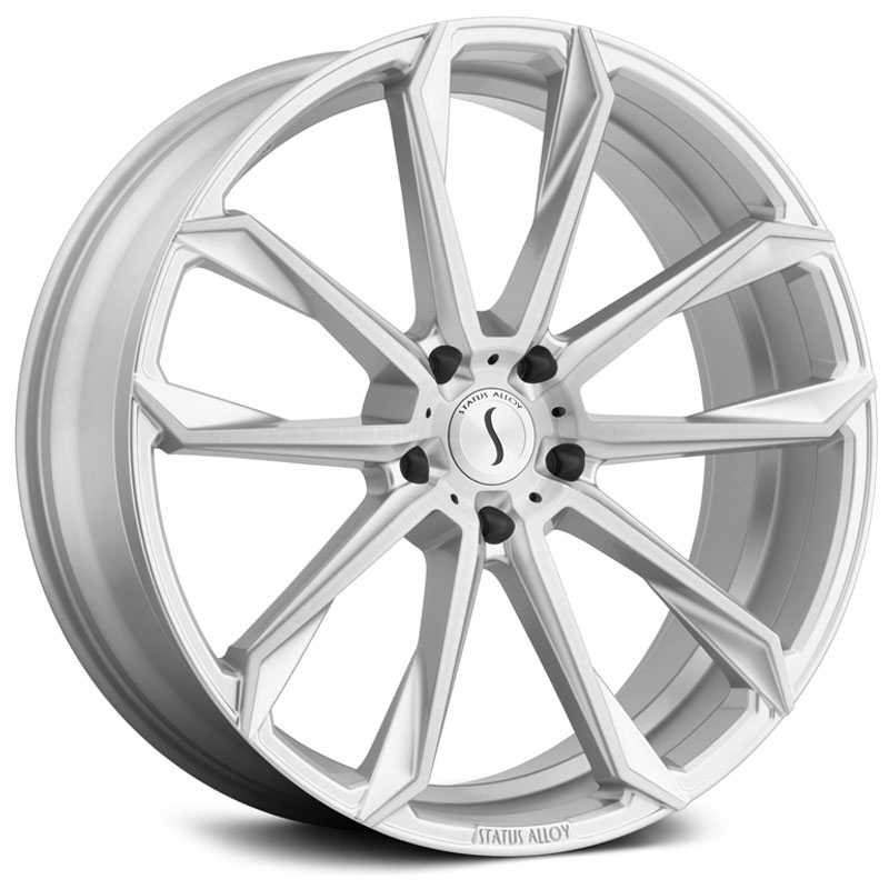 22x9.5 Status Alloy S846 Mastadon 5 Silver w/ Brushed Machine Face MID